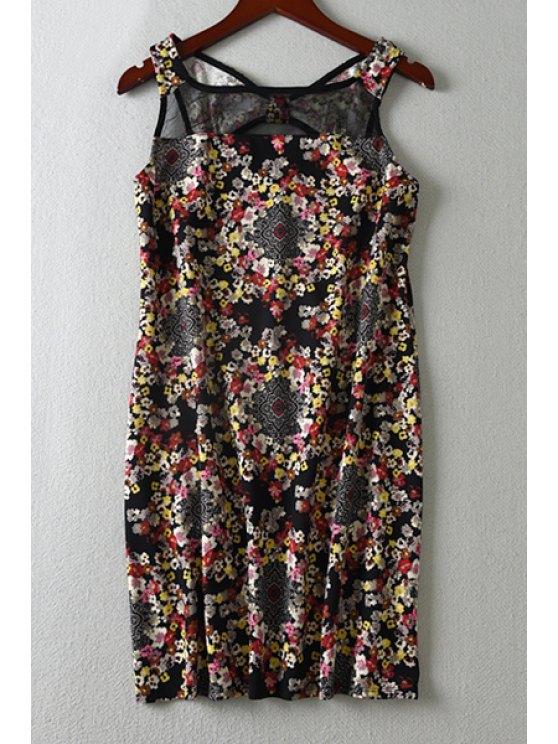 hot Floral Mesh Spliced Sleeveless Dress - BLACK XS