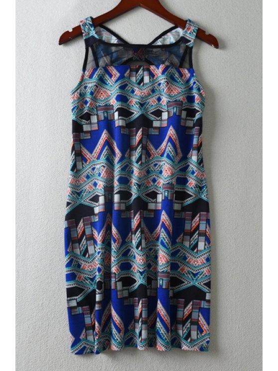 chic Geometric Print Mesh Spliced Dress - BLUE XS