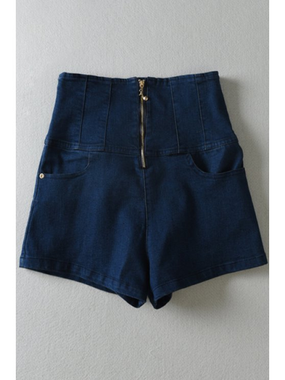 women's Deep Blue Denim High Waisted Shorts - DEEP BLUE S