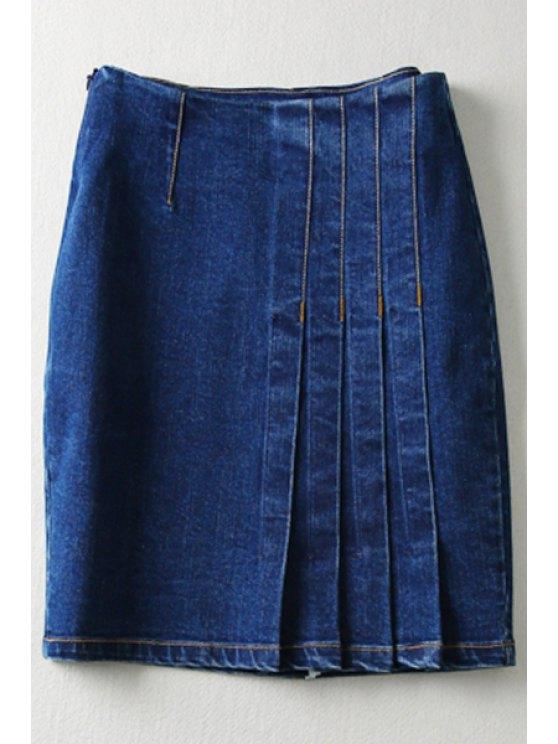 best Pure Color High Waisted Denim Skirt - DEEP BLUE S