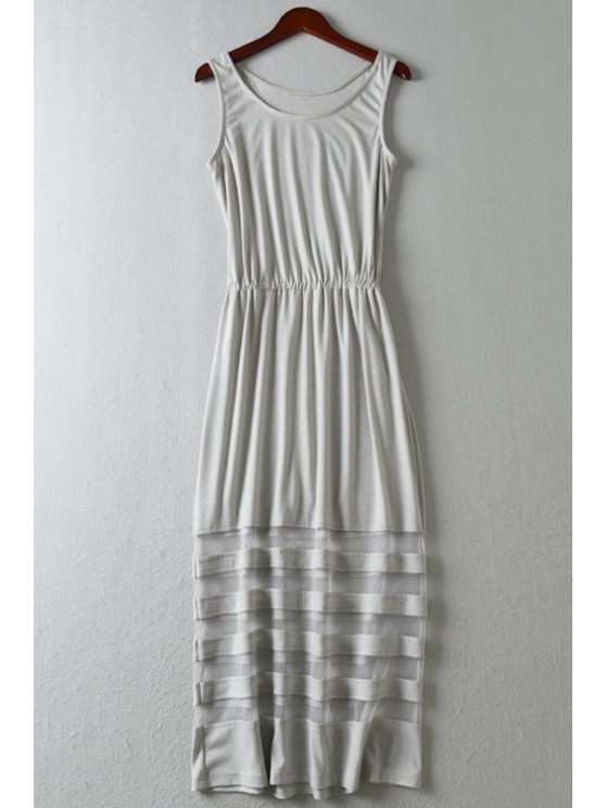 sale Mesh Spliced Scoop Neck Maxi Sundress - GRAY ONE SIZE(FIT SIZE XS TO M)