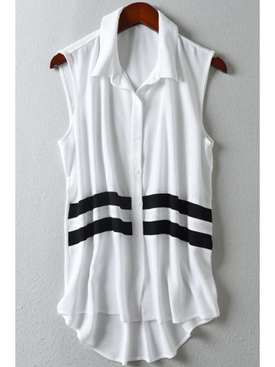 chic Striped Shirt Neck Sleeveless Shirt - AS THE PICTURE M