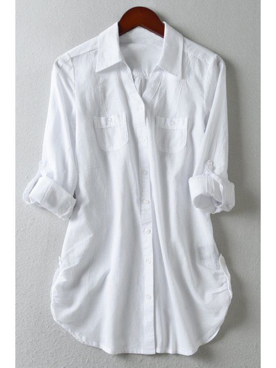 latest White Turn Down Collar Long Sleeve Shirt - WHITE M