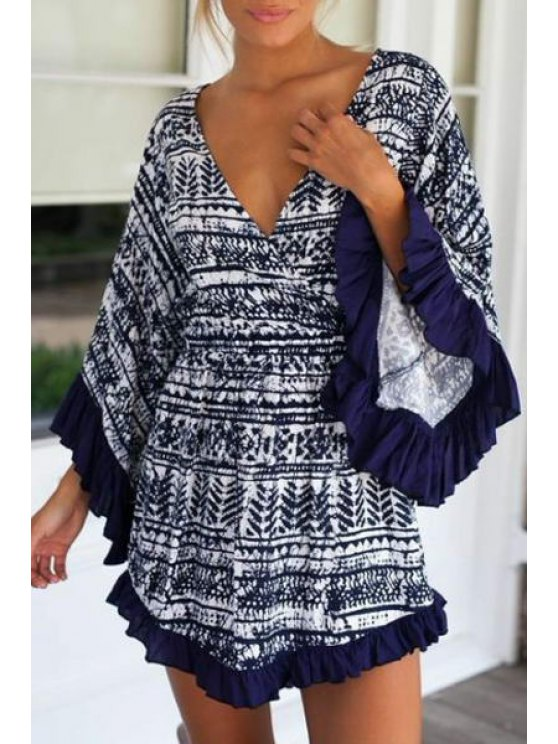 shop Printed Flounce Splicing Long Sleeve Dress - BLACK S