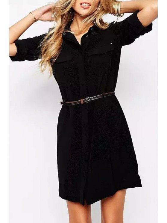 fancy Shirt Collar Draped Sleeve Chiffon Dress - BLACK S