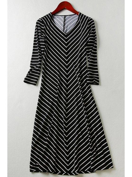 women's Zig Zag V Neck 3/4 Sleeve Dress - BLACK S