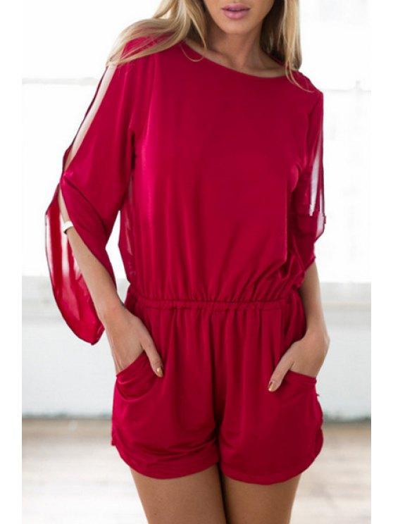 fashion Scoop Neck Slit Backless Long Sleeve Romper - DEEP RED S