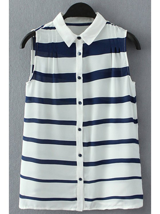 sale Stripes Turn Down Collar Sleeveless Shirt - BLUE AND WHITE S