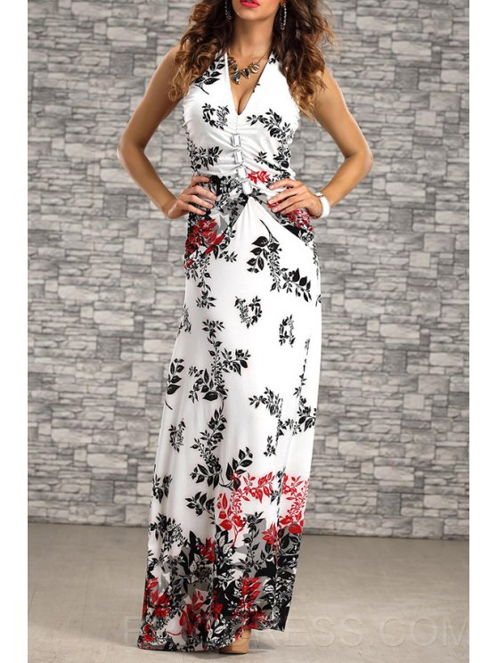 outfit Leaf Print Backless Nipped Waist Maxi Dress - RED S