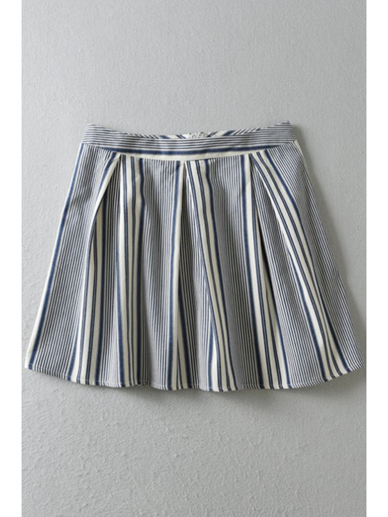 chic Stripe High Waisted A Line Skirt - BLUE AND WHITE S
