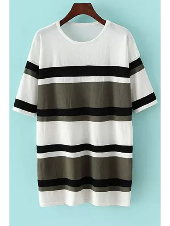 fancy Hit Color Striped Short Sleeve Sweater - GREEN ONE SIZE(FIT SIZE XS TO M)