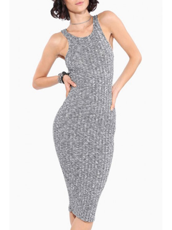 women's Scoop Neck Fitted Sleeveless Knitted Dress - LIGHT GRAY XS