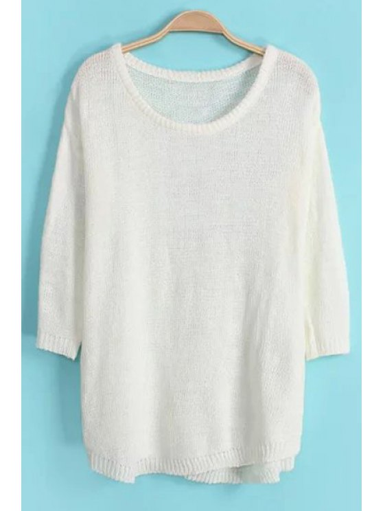 hot 3/4 Sleeve Solid Color Loose Sweater - WHITE ONE SIZE(FIT SIZE XS TO M)
