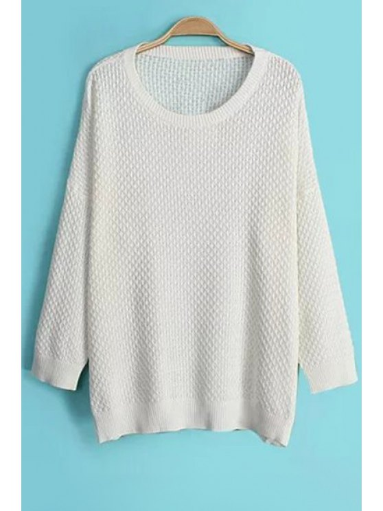 trendy Solid Color Loose-Fitting Sweater - WHITE ONE SIZE(FIT SIZE XS TO M)