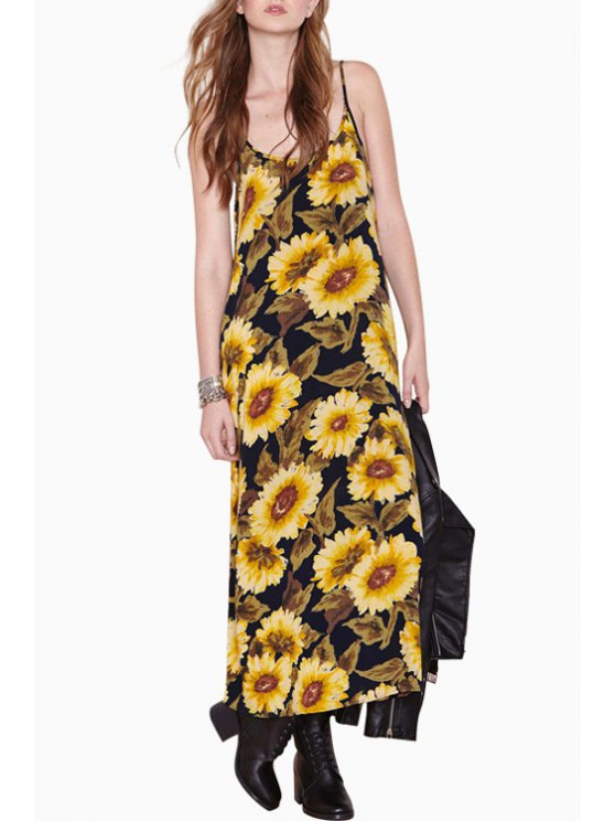 sale Spaghetti Strap Sunflower Print Sleeveless Dress - YELLOW XS