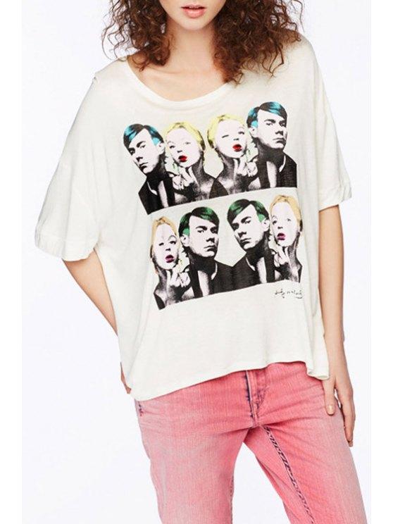 women Scoop Neck Figure Printed Short Sleeve T-Shirt - WHITE XS