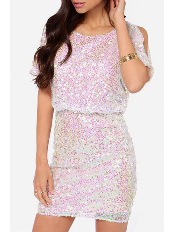 shops Scoop Neck Sequins Backless Short Sleeve Dress - WHITE XS
