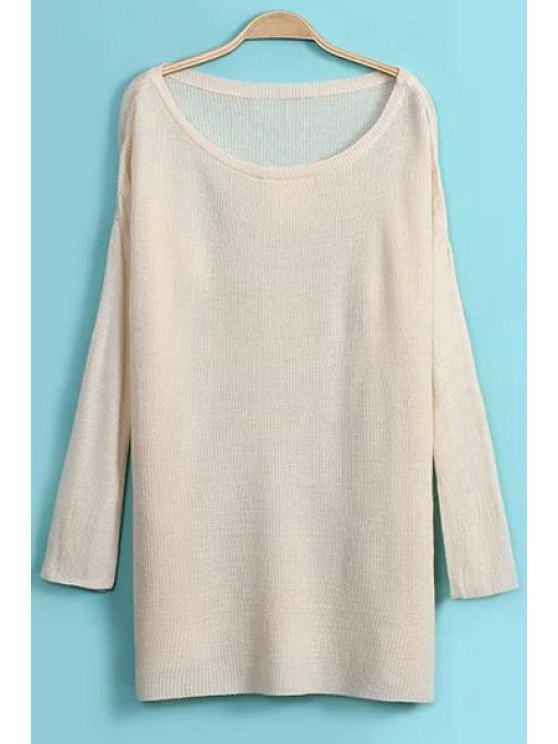 trendy Solid Color Side Slit Loose-Fitting Sweater - OFF-WHITE ONE SIZE(FIT SIZE XS TO M)