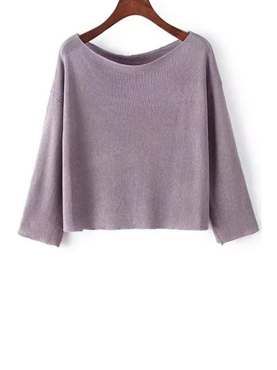 hot Solid Color Boat Neck Sweater - PURPLE ONE SIZE(FIT SIZE XS TO M)