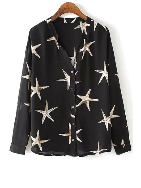 online Sea Star Pattern Single-Breasted Shirt - BLACK M