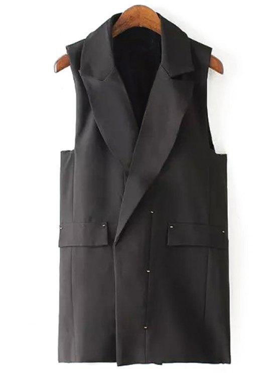 fancy Solid Color Lapel Waistcoat - BLACK M