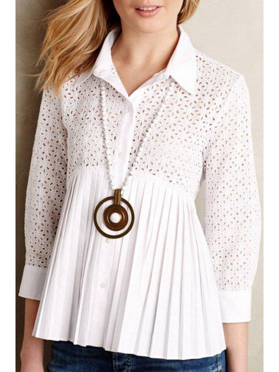 womens See-Through Openwork 3/4 Sleeve Shirt - WHITE XS