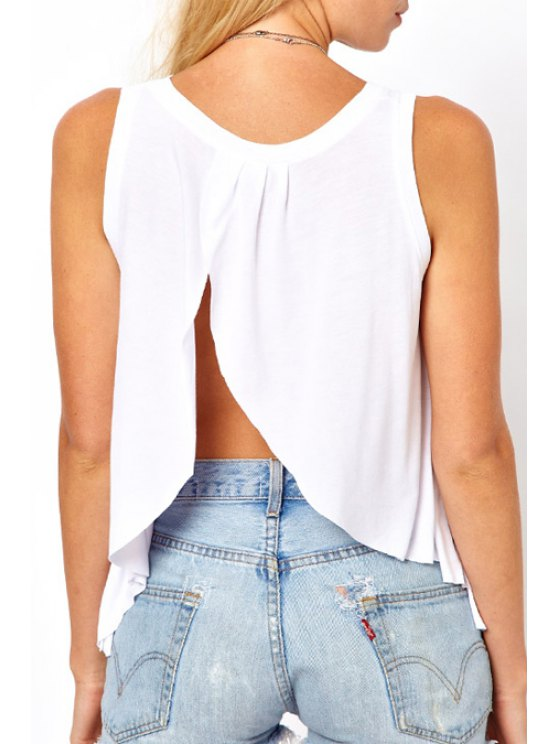 outfit Backless Slit Sleeveless Tank Top - WHITE XS