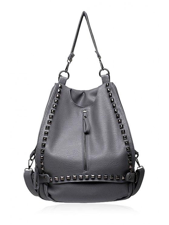 best Zipper Rivets Solid Color Shoulder Bag - LIGHT GRAY