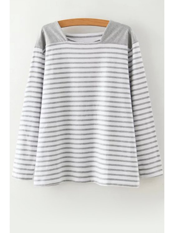trendy Long Sleeve Splicing Stripes T-Shirt - GRAY ONE SIZE(FIT SIZE XS TO M)