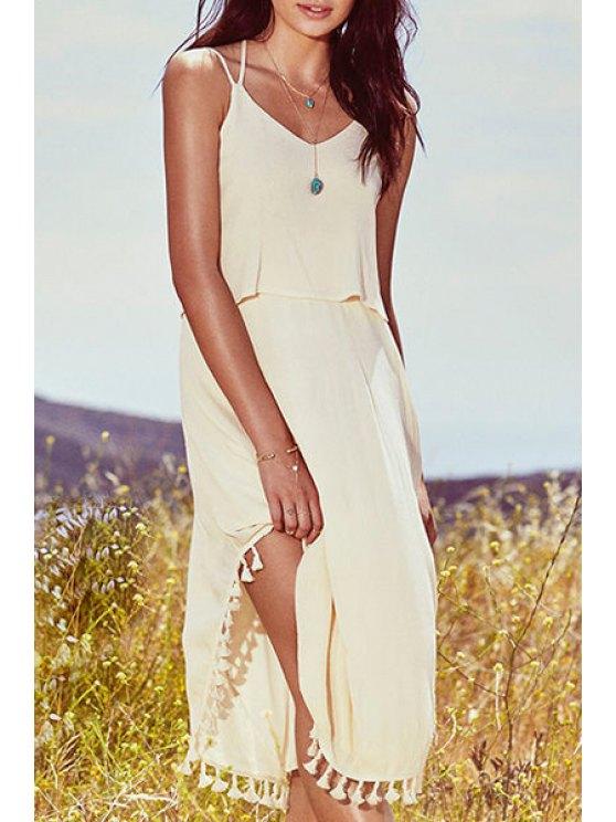 unique Pure Color Cami Fringe Dress - APRICOT S
