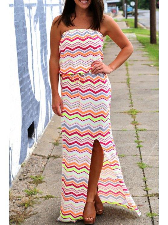 ladies Colorful Zig Zag Strapless Maxi Dress - JACINTH M