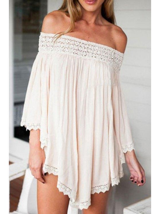 outfit Pure Color Slash Neck 3/4 Sleeve Dress - APRICOT XL