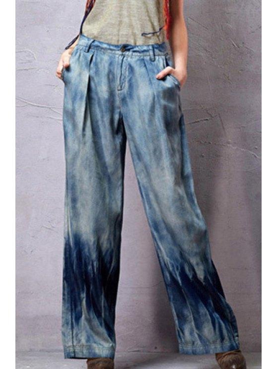 trendy Light Blue Wide Leg Bleach Wash Jeans - LIGHT BLUE S
