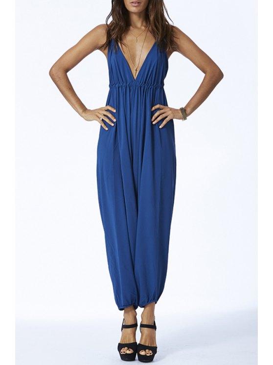 shop Blue Halter V Neck Backless Jumpsuit - BLUE S