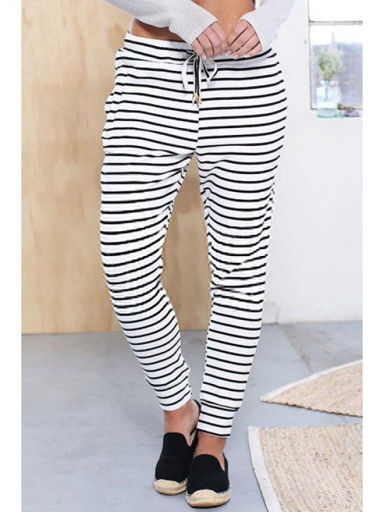 fancy White Black Tie-Waist Striped Pants - WHITE AND BLACK S