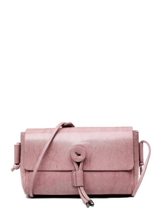 women's String Solid Color Metallic Crossbody Bag - PINK
