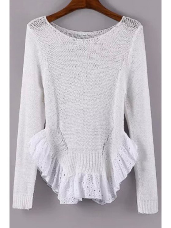 chic Scoop Neck See-Through Flounce Splicing Sweater - WHITE ONE SIZE(FIT SIZE XS TO M)