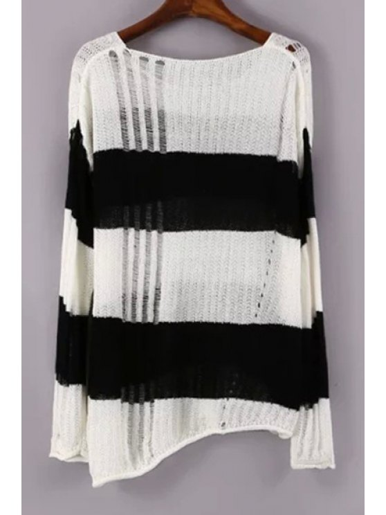 sale Black White Openwork Long Sleeve Sweater - WHITE AND BLACK ONE SIZE(FIT SIZE XS TO M)