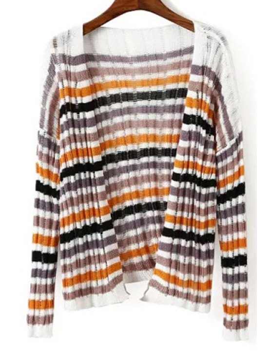 outfit Colorful Stripe Long Sleeve Cardigan - ORANGE ONE SIZE(FIT SIZE XS TO M)