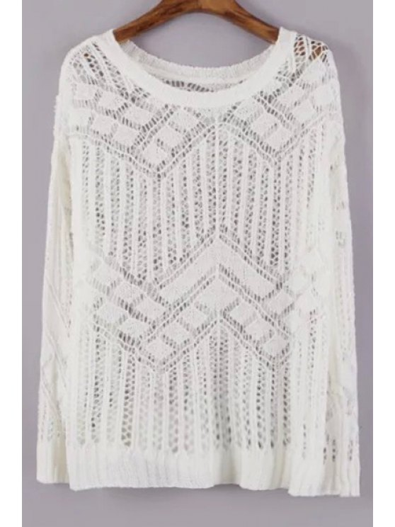 shop Openwork See-Through Sweater - WHITE ONE SIZE(FIT SIZE XS TO M)