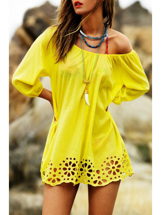 shop Yellow Hollow Slash Neck Dress - YELLOW ONE SIZE(FIT SIZE XS TO M)