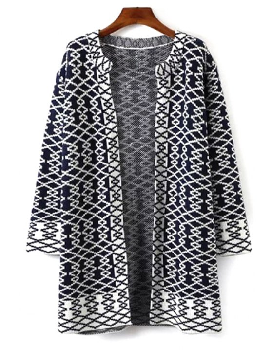 sale Argyle Pattern Long Sleeve Cardigan - WHITE AND BLACK ONE SIZE(FIT SIZE XS TO M)