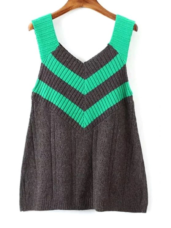online V-Neck Color Block Sleeveless Sweater - GRAY ONE SIZE(FIT SIZE XS TO M)