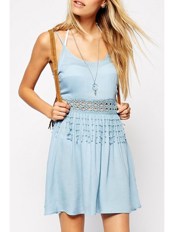 new Blue Lace Spliced Cami Dress - LIGHT BLUE S