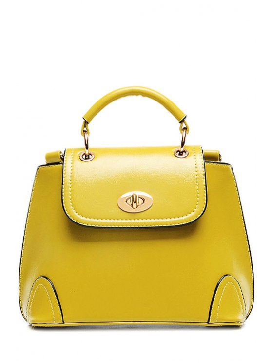 affordable Candy Color Hasp PU Leather Tote Bag - BLUISH YELLOW