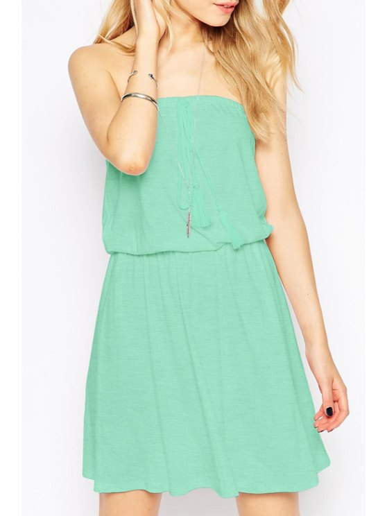 shops Pure Color Strapless Dress - GREEN S