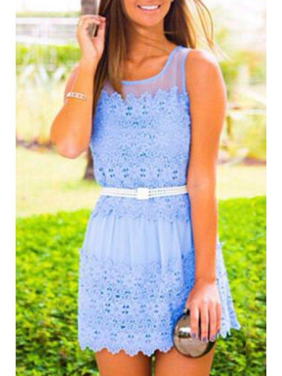 best Lace Splicing Jewel Neck Sundress - LIGHT BLUE S