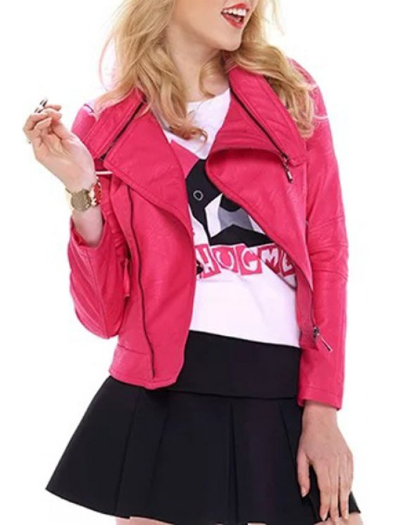 womens Solid Color Faux Leather Long Sleeve Coat - ROSE S