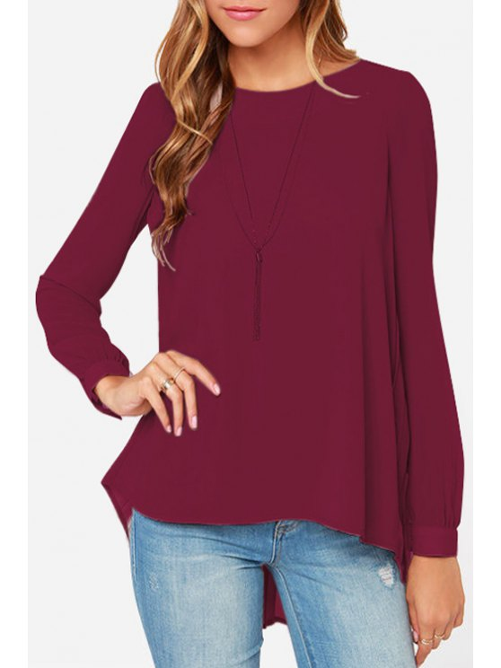 outfit Back Pleated High Low Long Sleeve Shirt - RED S