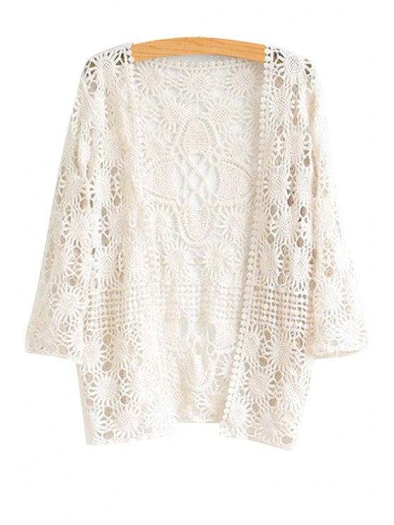 unique Sunflower Openwork 3/4 Sleeve Blouse - WHITE ONE SIZE(FIT SIZE XS TO M)